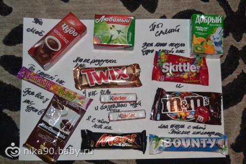 Плакат на свадьбу своими руками с шоколадками