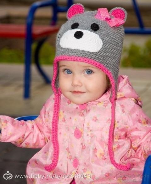 Шапочка Мишка для девочки,Шапки и шарфы ручной работы,серый,шапочка мишка,шапочка для девочки,шапочка вязаная