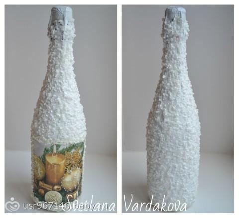 Как сделать снег на бутылки с шампанским