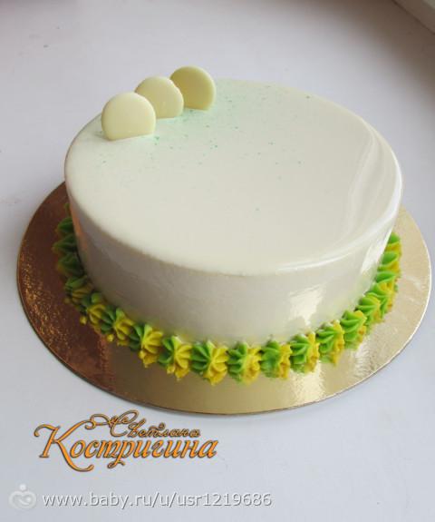 Белая зеркальная глазурь для торта