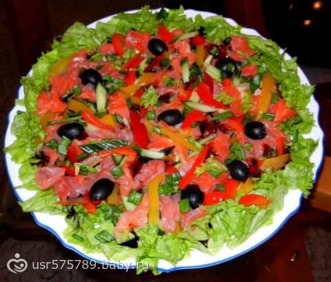 Рецепт салат с форелью соленой рецепт