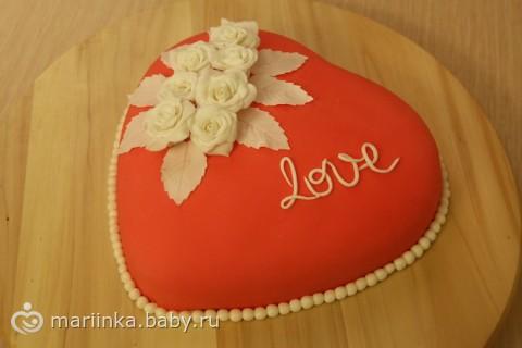 Торты и пирожные торт сердце с розами