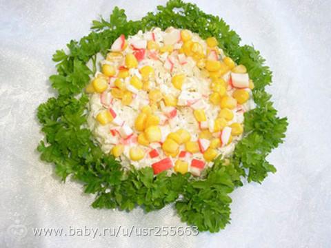 Салат крабовые палочки с рисом с фото