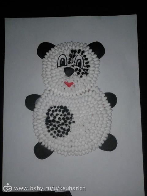 Панда своими руками из ватных палочек