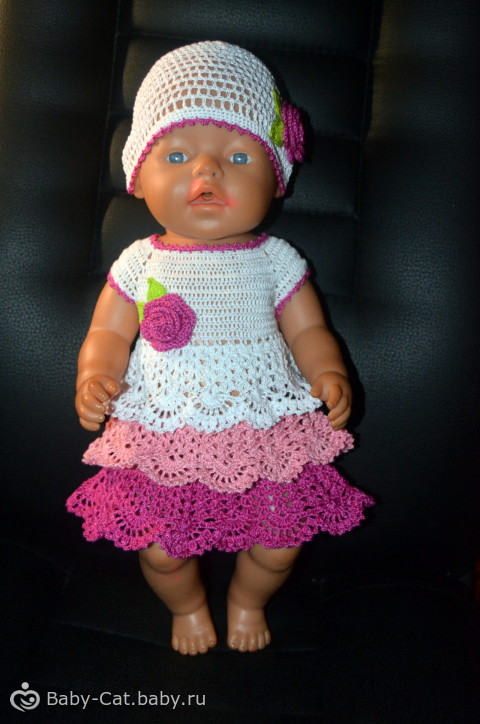 Ажурные платья для кукол крючком с описанием и схемами