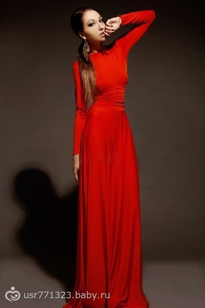 Красные длинные платья с длинным рукавом