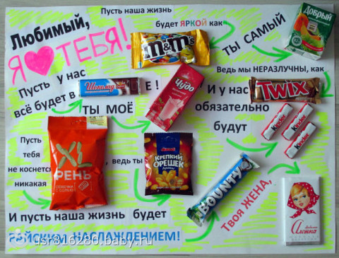 Поздравление подруге на плакате с шоколадками