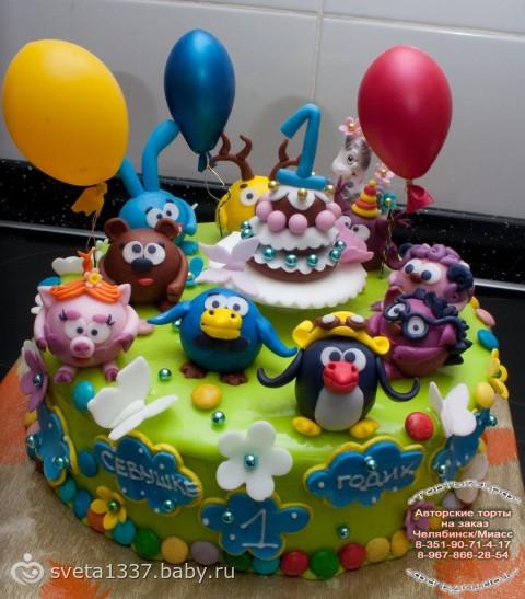 Детский торт фото смешарики