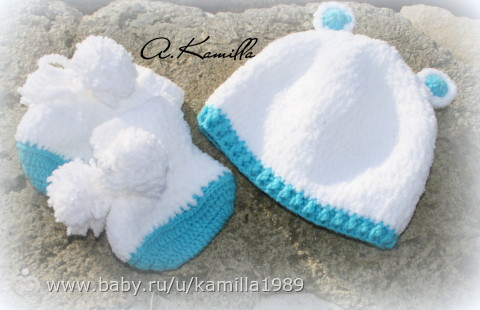 Плюшевая шапочка для новорожденного