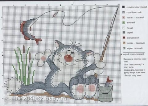 схемы для вышивки крестом рыбалка