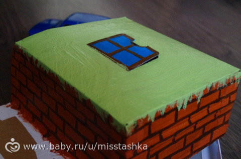 Гараж из коробки для игрушечной машинки