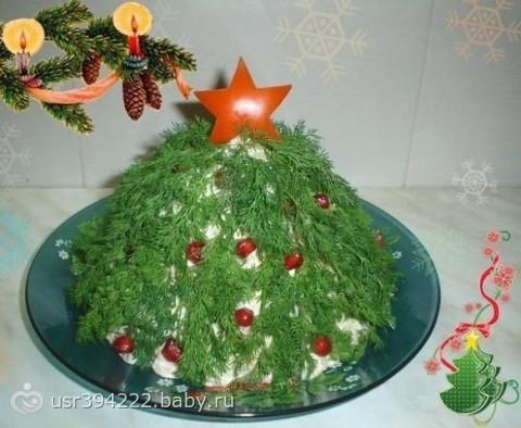 Как украсить салаты фото новый год