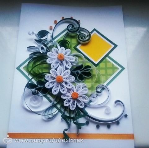 Квилинговая открытка к 8 марта