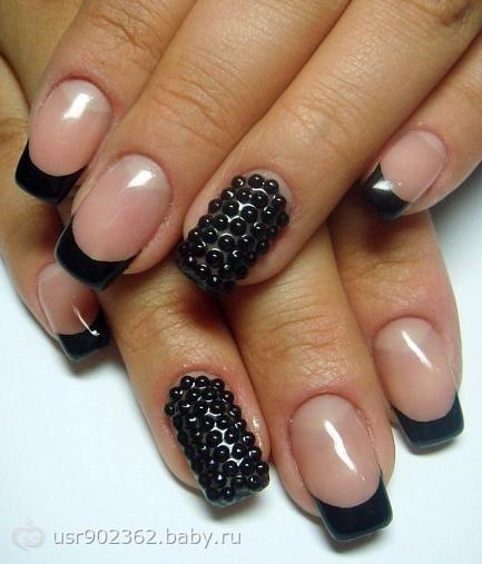 черный френч дизайн ногтей фото