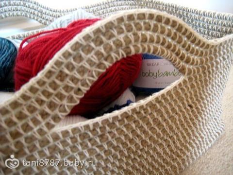 Корзина крючком из верёвки для рукоделия